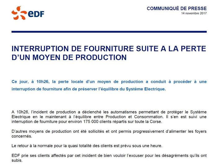 Communiqué de presse EDF