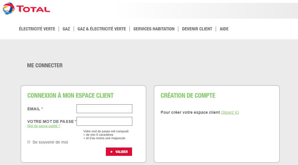 Connexion à l'Espace Client du fournisseur d'électricité et de gaz Total Spring (ex Lampiris)