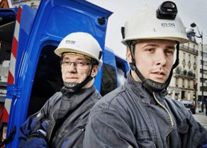 Des techniciens Enedis (anciennement ERDF)